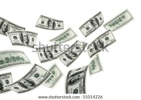 Flying hundred  dollars on a white background