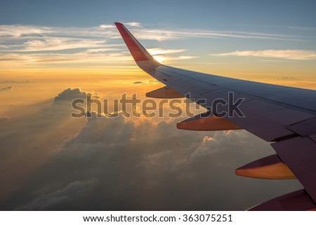 Flying in the sky and the sea of clouds - stock photo