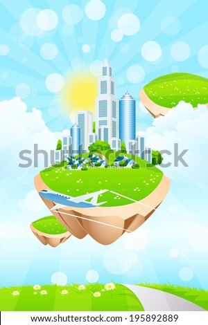 Flying in the Sky Business City on Island - stock photo