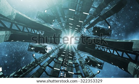 Flying into an impressive space station. 3D rendering - stock photo
