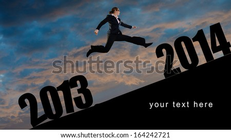 flying into new year - stock photo