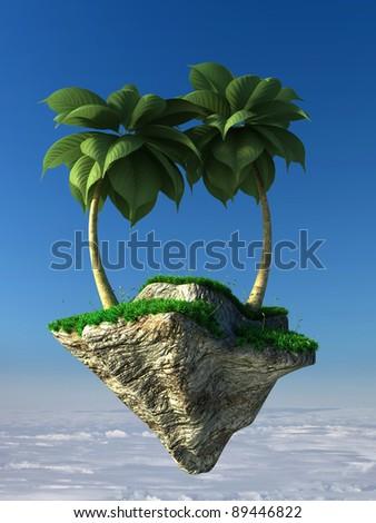 Flying island - stock photo