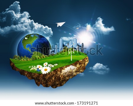 Flying island. Abstract eco and environmental concept - stock photo