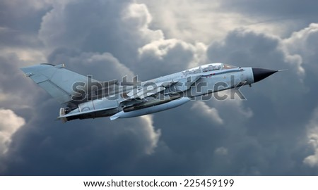 Flying jet aircraft - stock photo