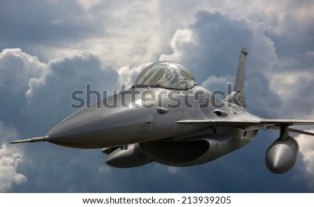 Flying jet aircraft an mission - stock photo