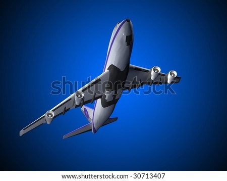 flying jet airplane - stock photo