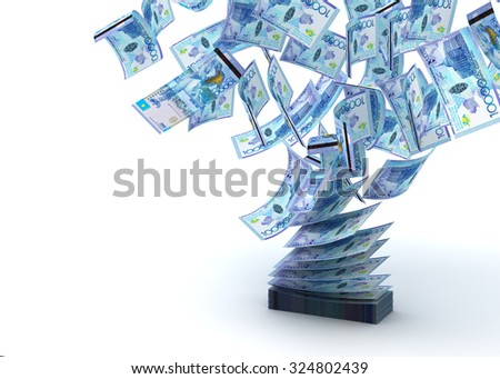 Flying Kazakh Tenge (isolated with clipping path) - stock photo