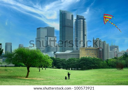 flying kites in the park - stock photo