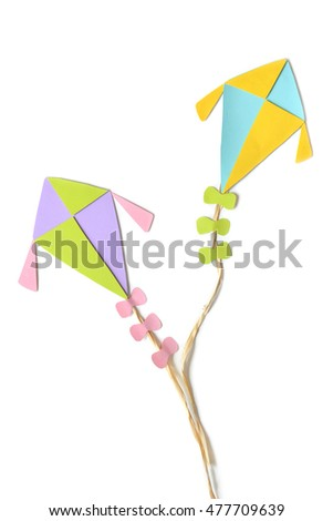 Flying kites on white background - isolated
