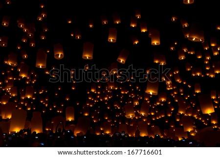 Flying lanterns, Province Thailand  - stock photo