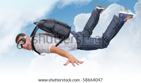 Flying man with satchel (parachute) in clouds - stock photo