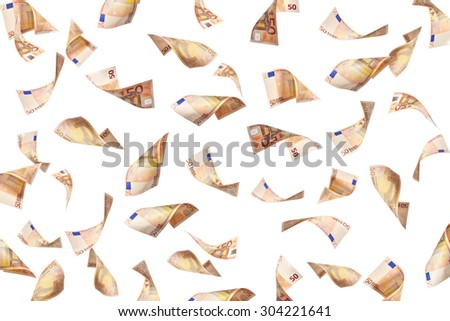 flying many euro banknotes on white background - stock photo