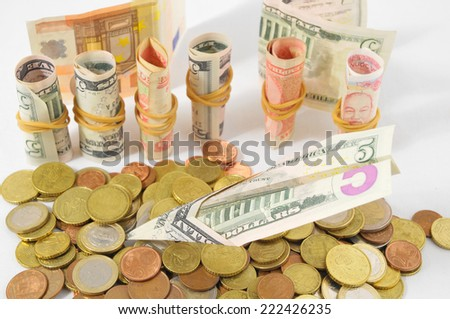 Flying Money Concept a Dollar Airplane and Coins - stock photo