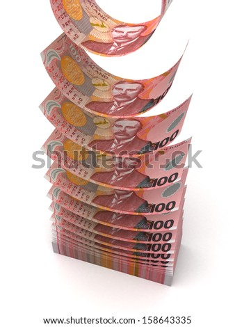 Flying New Zealand Dollar (isolated with clipping path)