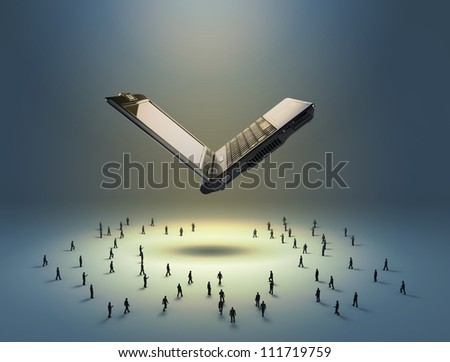 Flying notebook and figures of people standing below it - stock photo