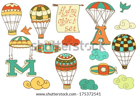 flying objects set with hot air balloons, parachute, airships, clouds, birds, letters A and M, colored in white or transparent background, vintage hand-drawn icons  - stock photo