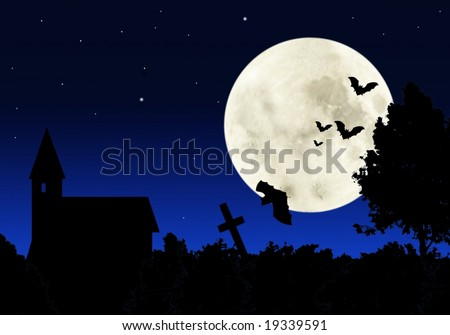 flying on background of moon bats