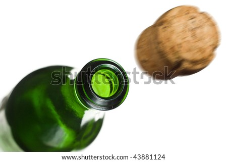 Flying-out cork with champagne - stock photo
