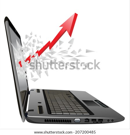 flying out of a broken laptop computer screen-red arrow  - stock photo
