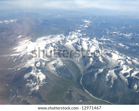 Flying over  Russian to Chinese Altai