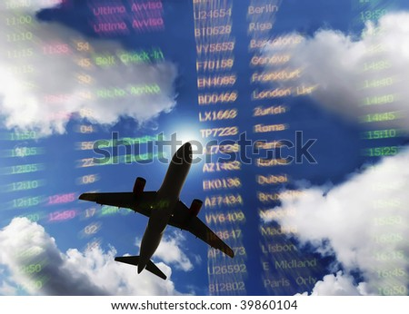 flying plane with timetable and cloudy sky - stock photo