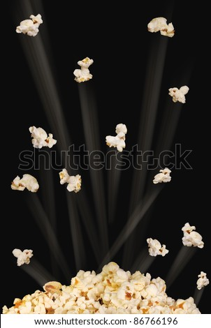 Flying Popcorn. - stock photo