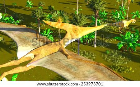 Flying pterodactyl over the land - stock photo