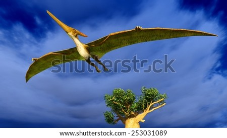 Flying pterodactyl over the sky - stock photo