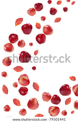 flying red apples and fall leafs on white  background - stock photo