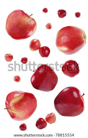 flying red apples on white  background - stock photo