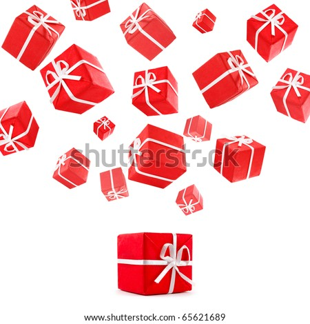 flying red gift boxes - stock photo