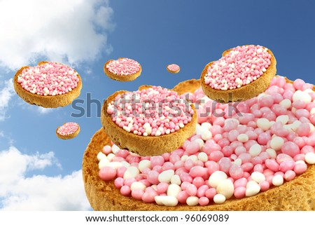 flying rusks with white and pink anise seed sprinkles served in Holland when a baby girl is born - stock photo