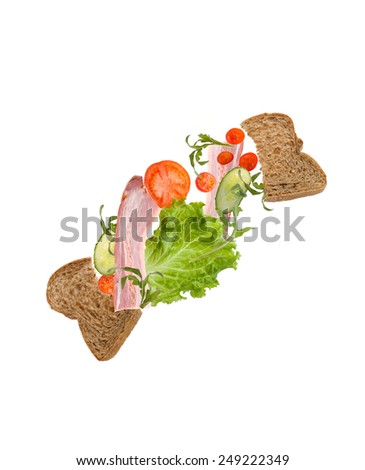 flying sandwich - stock photo