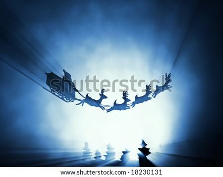 flying santa sledge - stock photo