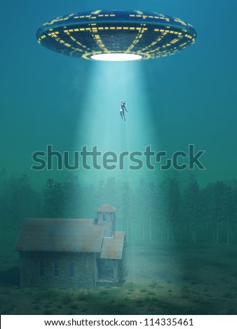 flying saucer arrived at night - stock photo
