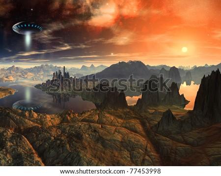 Flying Saucer Ship over Alien Landscape - stock photo