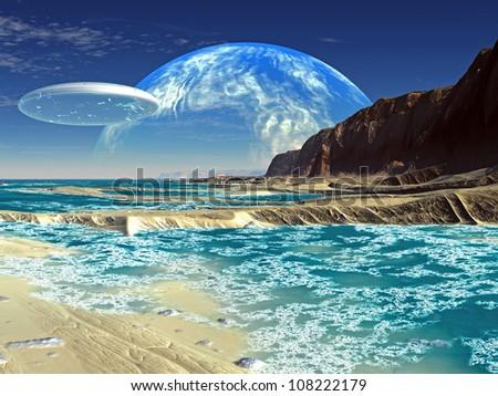 Flying Saucer Ship over Shoreline on Alien Planet - stock photo