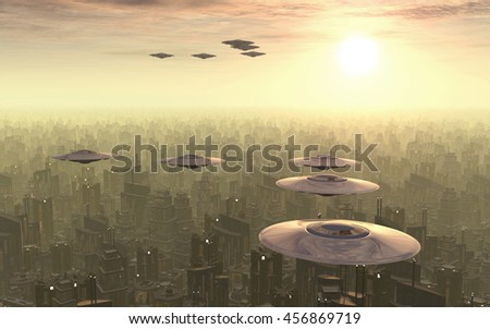 Flying saucers over a megacity Computer generated 3D illustration - stock photo