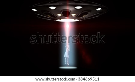 flying saucers ufo kidnapped a woman - stock photo