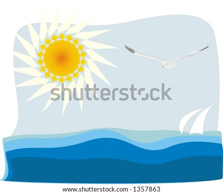 Flying seagull, sun and sea - stock photo