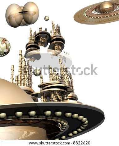 Flying ships in white space - stock photo