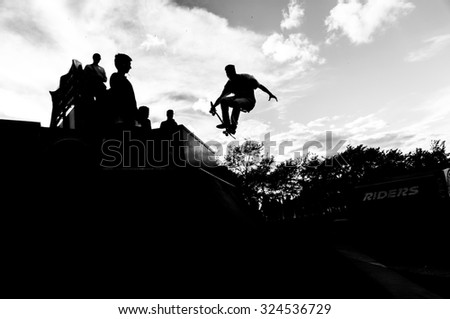 Flying skater - stock photo