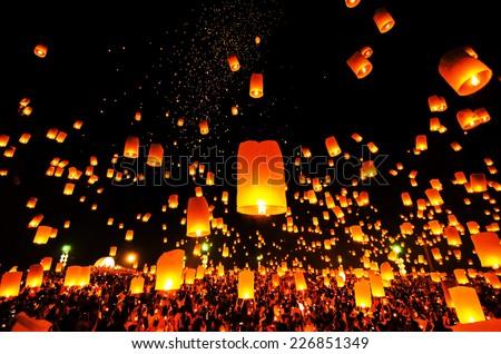 Flying Sky Lantern on Yeepeng festival, thai lanna tradition religion in Chiangmai thailan - stock photo