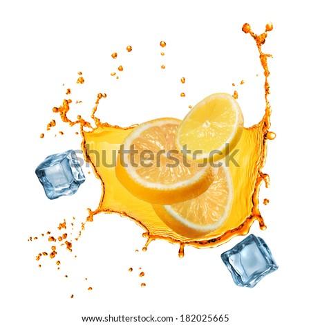 flying slices of orange and lemon in juice splash isolated on white - stock photo
