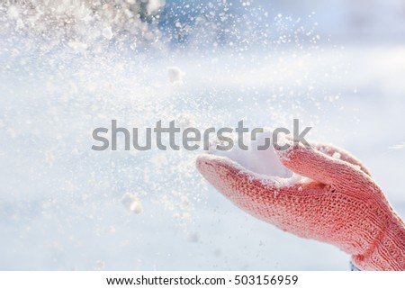 Flying Snowflakes. Blowing Snow in frosty winter Park on Sunny day. Joyful winter time