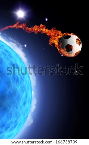 Flying soccer ball in flames - stock photo