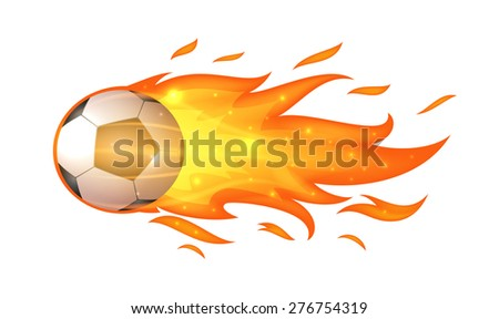 Flying soccer ball with flames isolated on white - stock photo