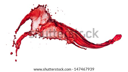 flying spray red liquid on a white background - stock photo
