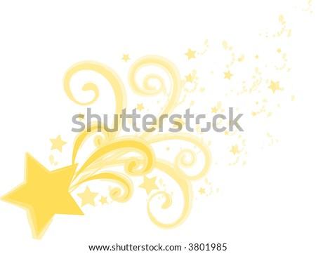 Flying Stars Grunge - stock photo