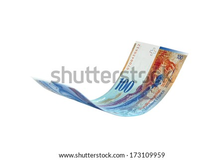 Flying Swiss Franc note, isolated